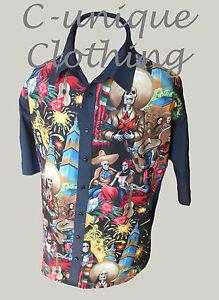 C-unique-Homme-Noir-Squelette-Mexicain-Rockabilly-a-lounge-diner-chemise