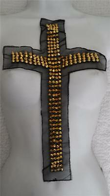 "1 piece of gold metal spike beads black tulle Cross applique 14""L x 8""W. A 9"
