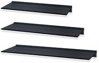 LEVV BLACK GLASS FLOATING WALL SHELF SHELVES - AVAILABLE IN 3 SIZES
