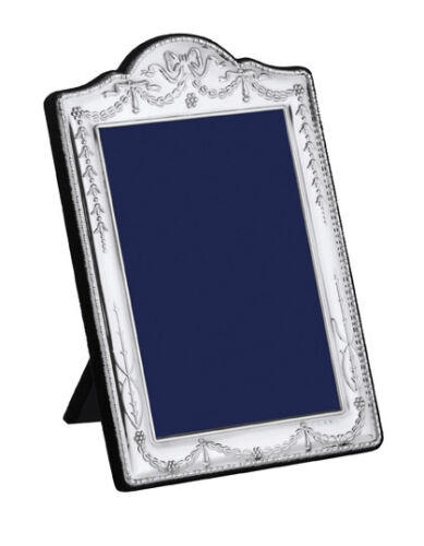 "SOLID SILVER PHOTOGRAPH FRAME Swag & Bow 7 X 5 "" by Carr's"