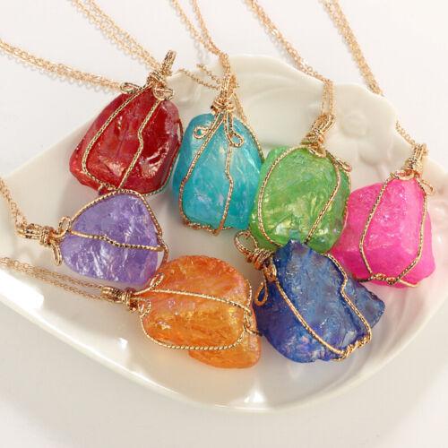 Chakra Quartz Irregular Stone Jewellery Natural Crystal Pendant Necklace UK