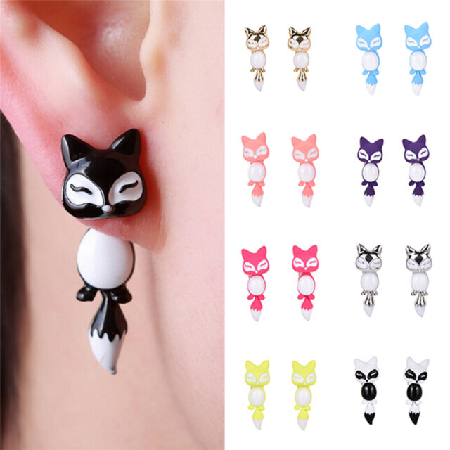 Prevalent Chic Animal Cute Fox Ear Stud Earrings for Women Jewelry Gifts FM