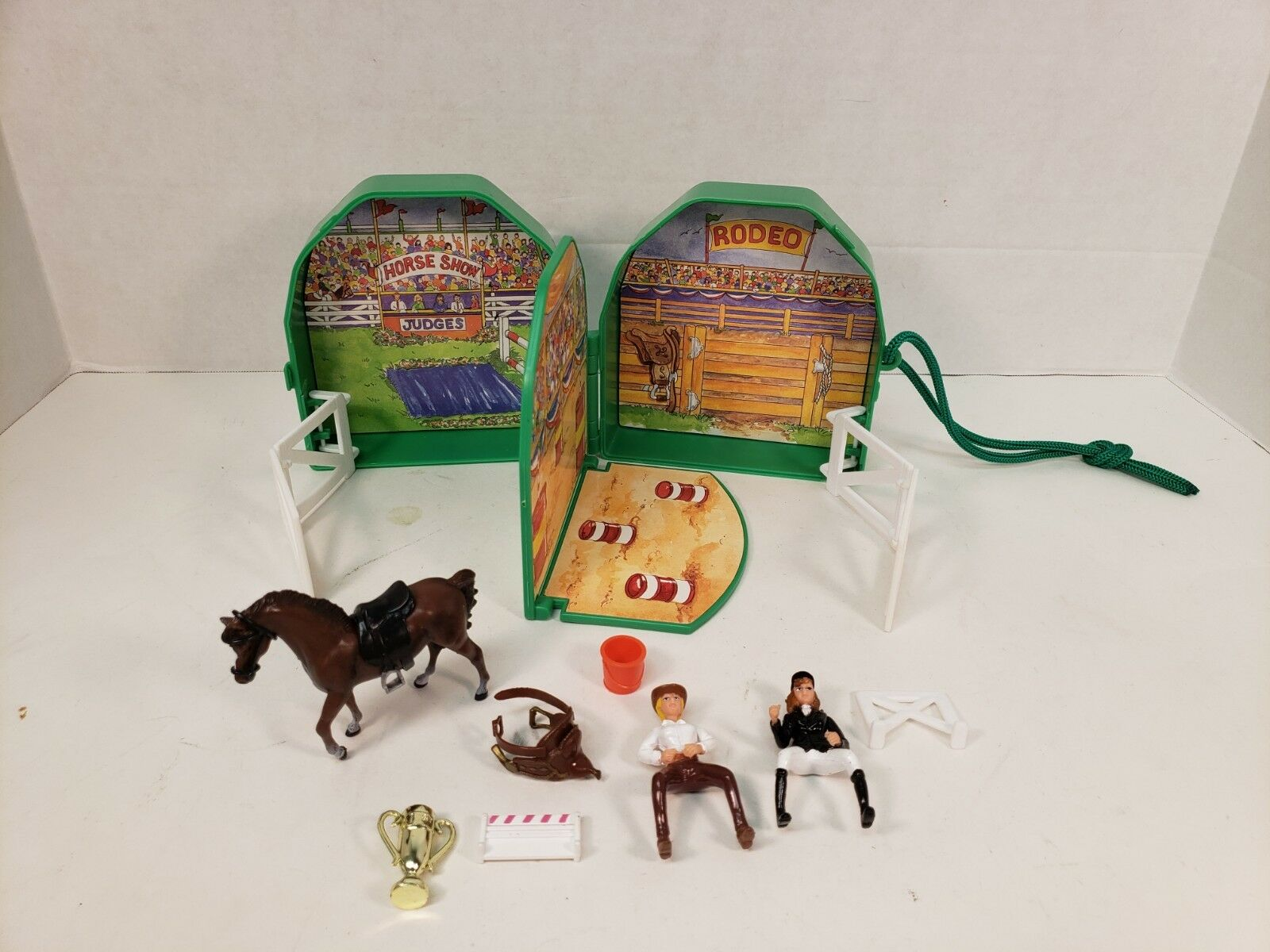 Grand Champions Horse Show Rodeo Playset Marchon 1993 Green Compact Toy Portable