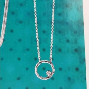 Silpada-N2290-Orbiting-Moon-Necklace-VERY-RARE-HTF-Circle-CZ-Cubic-Zirconia