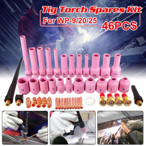 46Pcs TIG Gas Lens Collet Body KIT Back Cap For TIG Welding Torch SR WP9 20 25