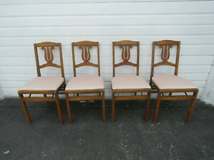 Solid Maple Set Of Four Folding Dining Dinette Chairs By