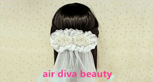 Women Girl Kid White Lace pearl Wedding Bride maid Tiara Hair Veil barrette Clip