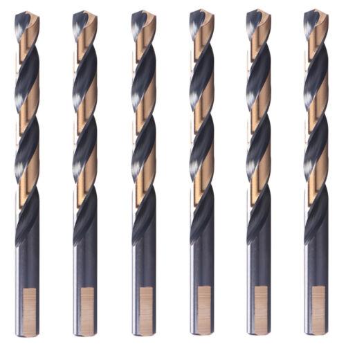 """6PCS 1//2/""""x6/"""" Black//Gold Drill Bits Set HSS 3-Flat Jobber Length Metal Drill Bit"""