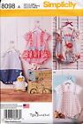 SIMPLICITY SEWING PATTERN 8098 BABY GIRL/BOY XXS-L ROMPERS SANDALS & DUCK