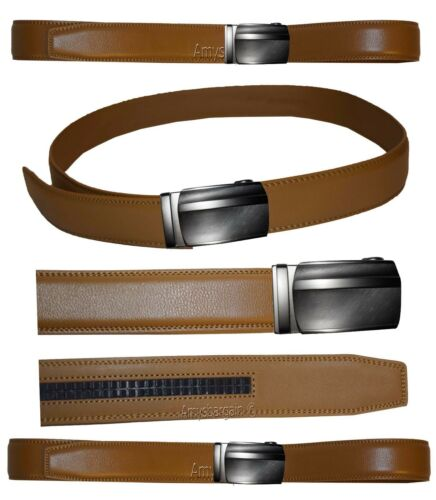 """Men/'s belt Auto lock New Buckle UP to 50/"""". Genuine Leather Dress /& casual Belt"""