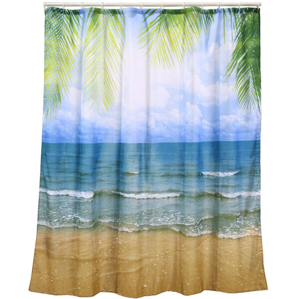 180cm Beach Shower Curtain Luxury Gift Waterproof Vinyl PVC Bathroom Novelty