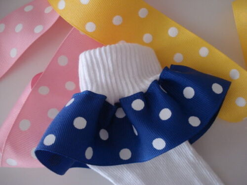 WHITE PINK Ruffle Socks Wide Polka  Dot  NAVY WHITE YELLOW WHITE