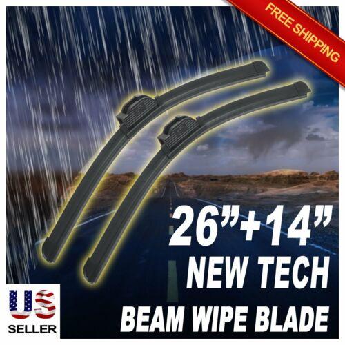 "Set of 2 ABLEWIPE 26/""+14/"" Quality All Season Beam Windshield Wiper Blades"