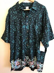Bali-Casuals-Men-039-s-XL-Shirt-Green-Hawaiian-Dragon-Casual-Resortwear-NWT