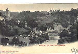 Suisse-cartolina-FRIBOURG-Entrambi-ponti-sospesa