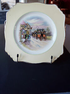 Vtg-1930-China-Serving-Plate-Grimwades-034-Old-English-Coaching-Lines-034-8-034