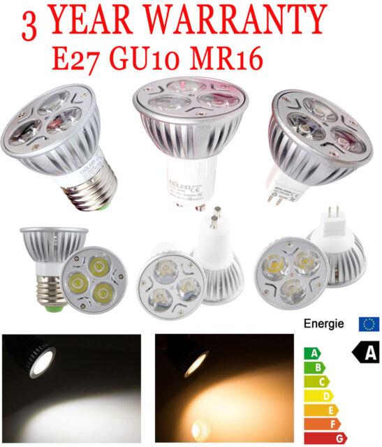 Dimmable 9W 3X3W MR16/E27/GU10/E26 LED light Warm Cool White Lamp 3Year-warranty