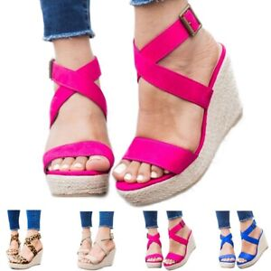Women-Summer-Sandals-Platform-Wedge-Heels-Open-Toe-Cross-Strap-Buckle-Beach-Shoe