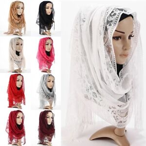 Stylish-Women-039-s-Lace-Flower-Muslim-Hijab-Shawls-Long-Scarf-Scarves-Stole-Wraps
