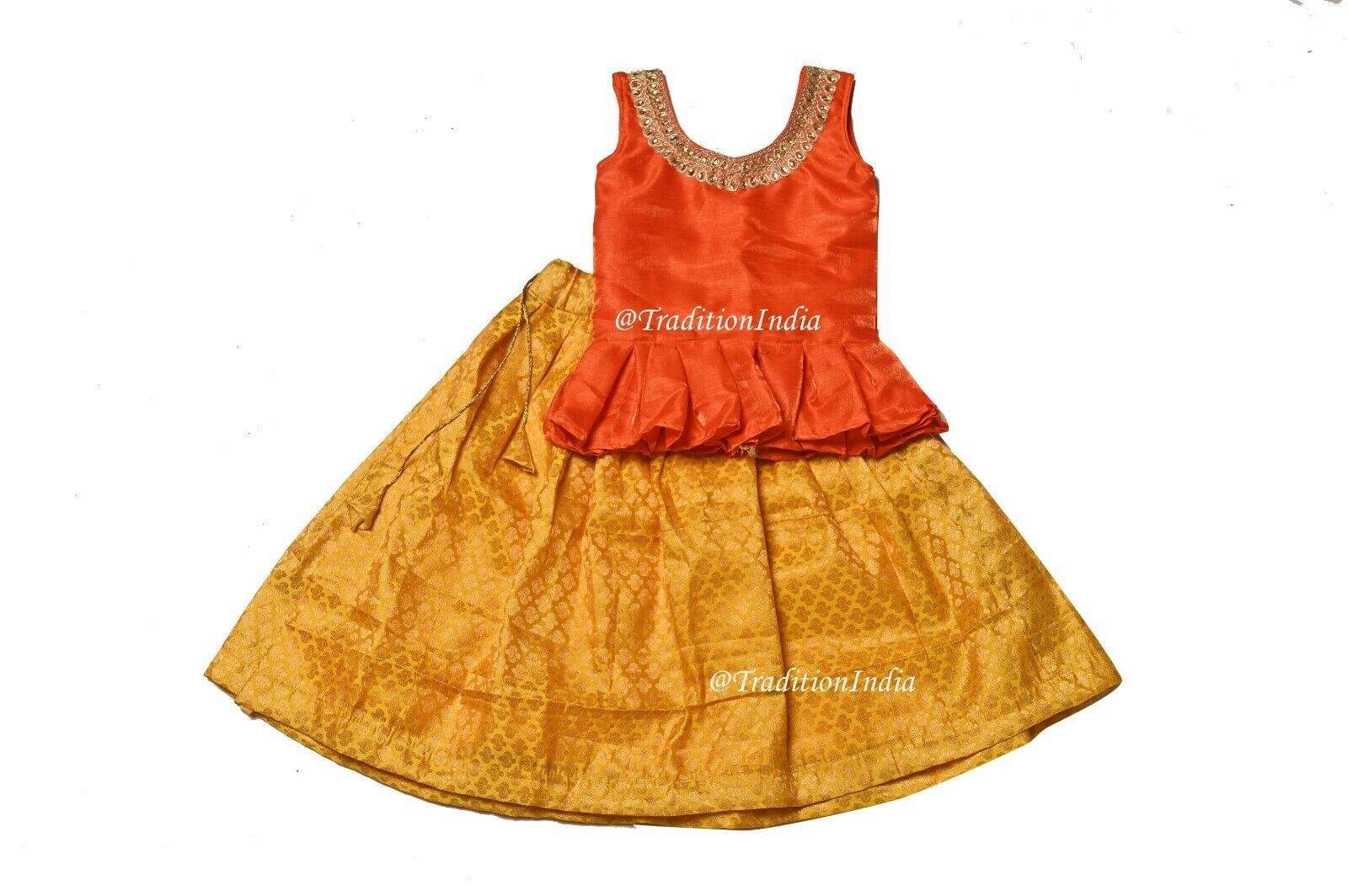 Designer South Indian Girl Pavadai Set, Readymade Kids Lehenga, Ethnic Dress,