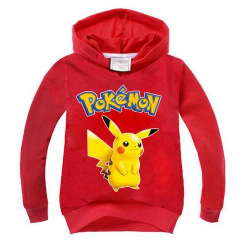 Kids Girls BoyPokemon Cartoon Pikachu Hoodie Coat Sweatshirt Zip Pullover Tops
