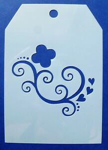 Flexible Stencil *LOVE HEARTS* Valentines Flourish Card Making 14.5cm x 14.5cm