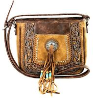 Montana West Beaded W Concho Tooled Collection Crossbody