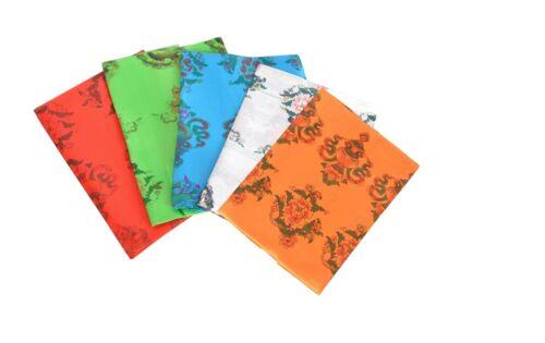 Bermoni Tibetan Scarf-Khata-Handmade With 8 Auspicious Symbol Print-FH-KHATA1011