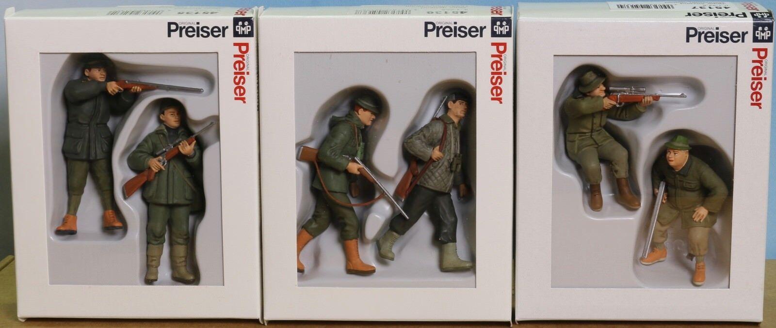 Preiser 45135, 45136, 45137 Spur G   Maßstab 1 22,5 für LGB, 6 Jäger, Paket