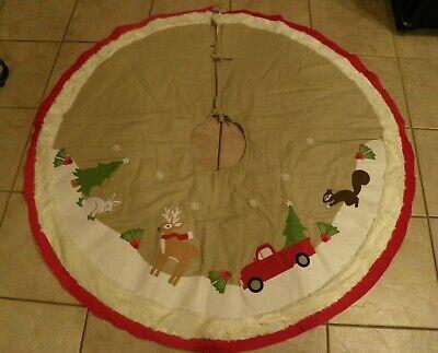 Pottery Barn Natural Woodland Christmas Tree Skirt Rabbit
