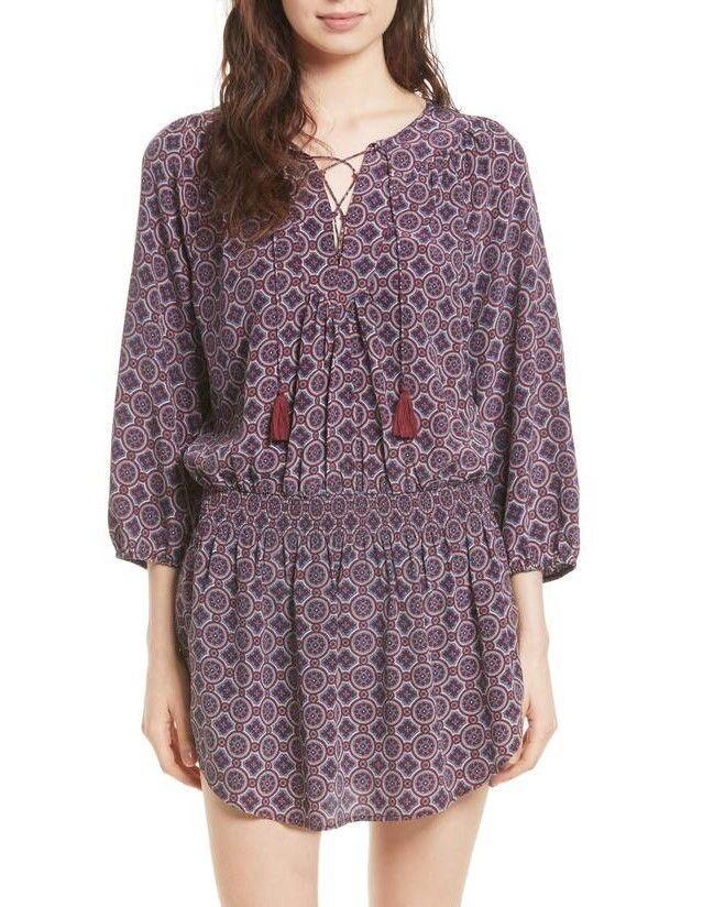 NEW Joie Corra B Print 100% Silk Blouson Dress, S. MSRP