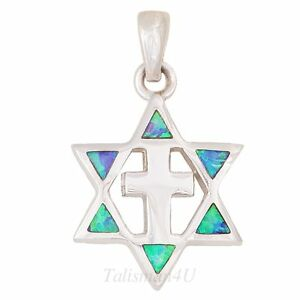 Messianic star of david with cross real silver blue opal pendant image is loading messianic star of david with cross real silver mozeypictures Gallery