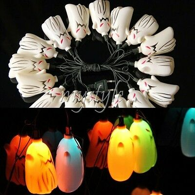 Lot 16 Ghost LED Light Up String Lamp Halloween Props Haunted House Bar Decor