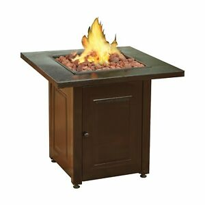 Propane Fire Pit Patio Heater Antique Hammered Bronze Finish Outdoor ...
