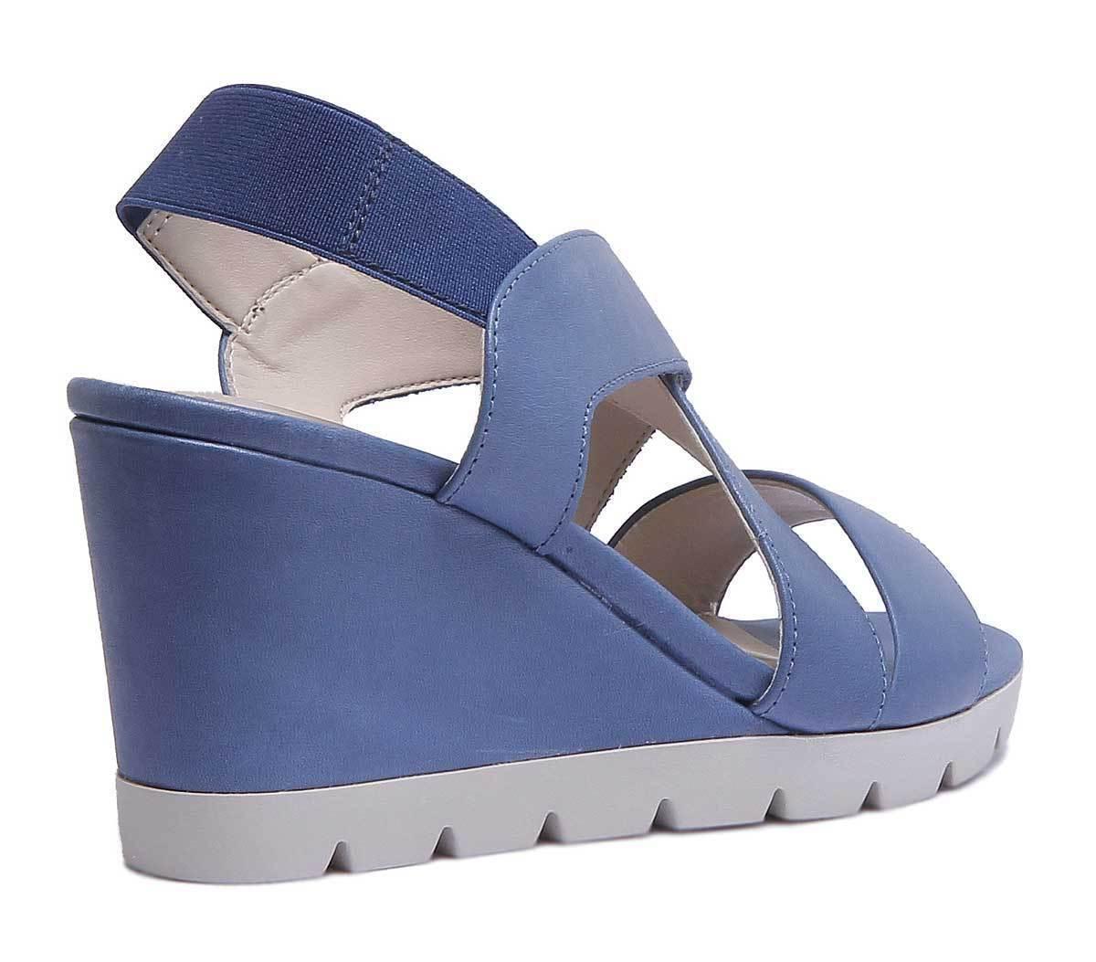 The Flexx Came Lot Women Leather Matt Denim Strappy Strappy Strappy Wedge Sandals Size UK 3 - 8 7b4333