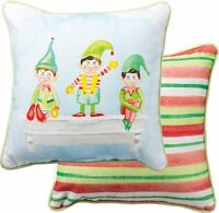 Christmas Elves Decorative Throw Pillow 12 X 12, Primitives By Kathy