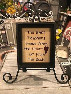 Teach from the Heart Teacher Gift Stitchery Sign 72685 NEW