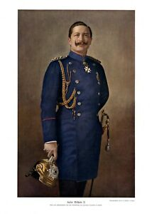 Kaiser-Wilhelm-II-in-Uniform-XL-Kunstdruck-1906-Pickelhaube-Orden-Saebel