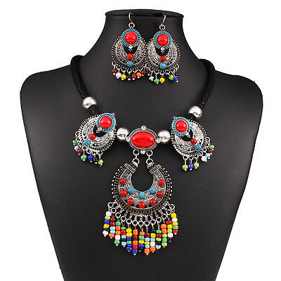 Retro Ethnic Style Pendant Tassel Boho Beads Bib Statement Necklace Earrings Set