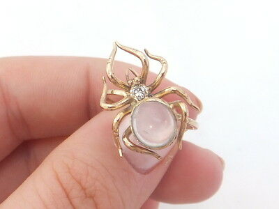 15ct/ 15k gold Diamond & Moonstone novelty spider Victorian ring, 625