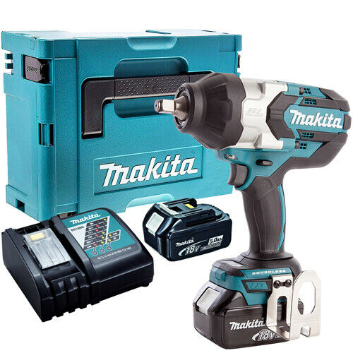 Makita DTW1002Z 18V Brushless Impact Wrench + 2 x 5.0Ah Batteries Charger & Case