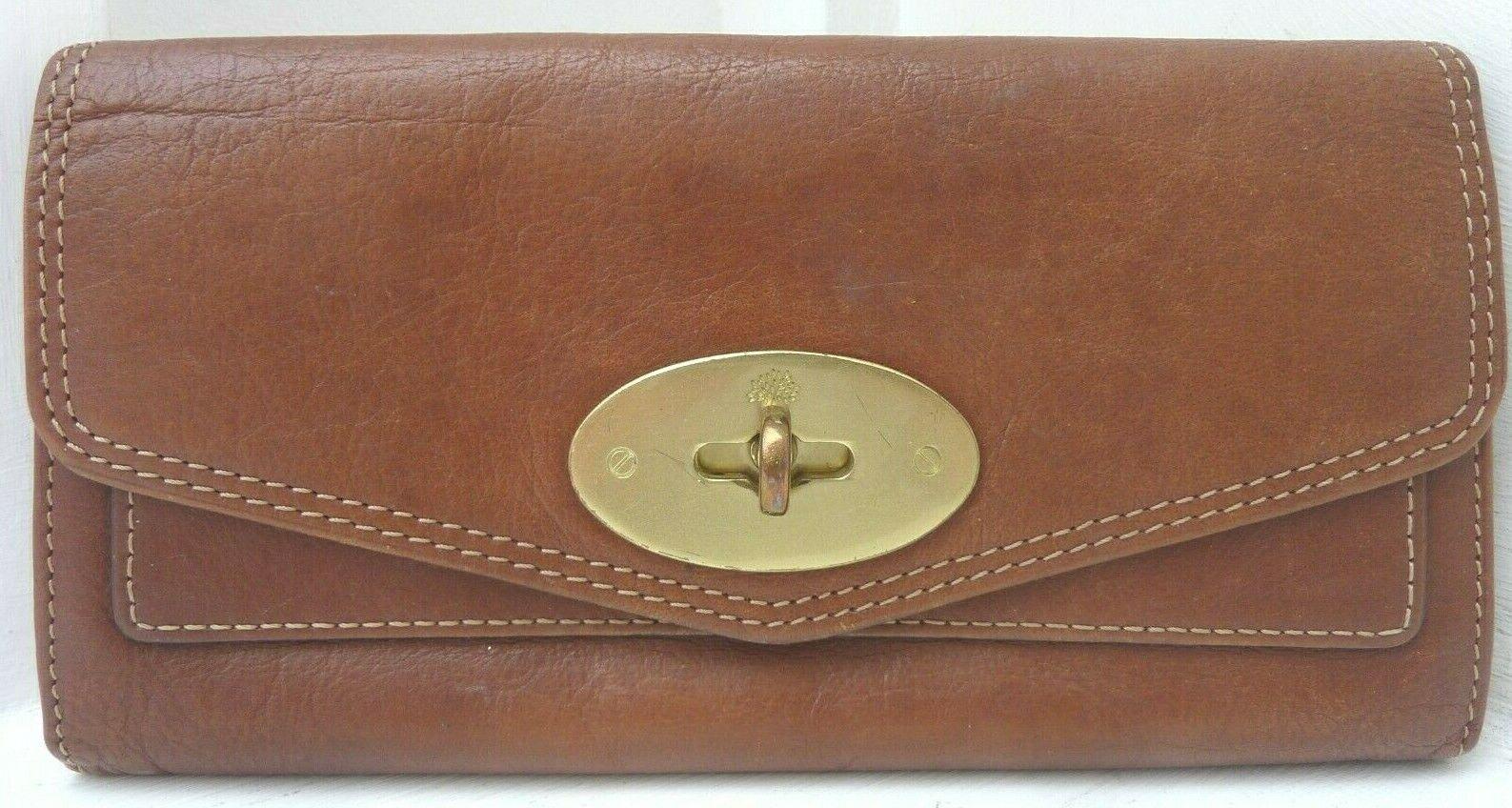 GENUINE MULBERRY Postman Lock Purse Wallet - - Oak Leather / Brass REDUCED