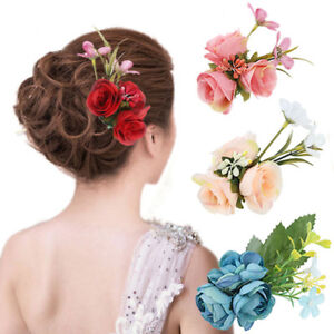 Women Hair Clip Pins Bridal Rose Flower Hairpin Barrettes Wedding Party