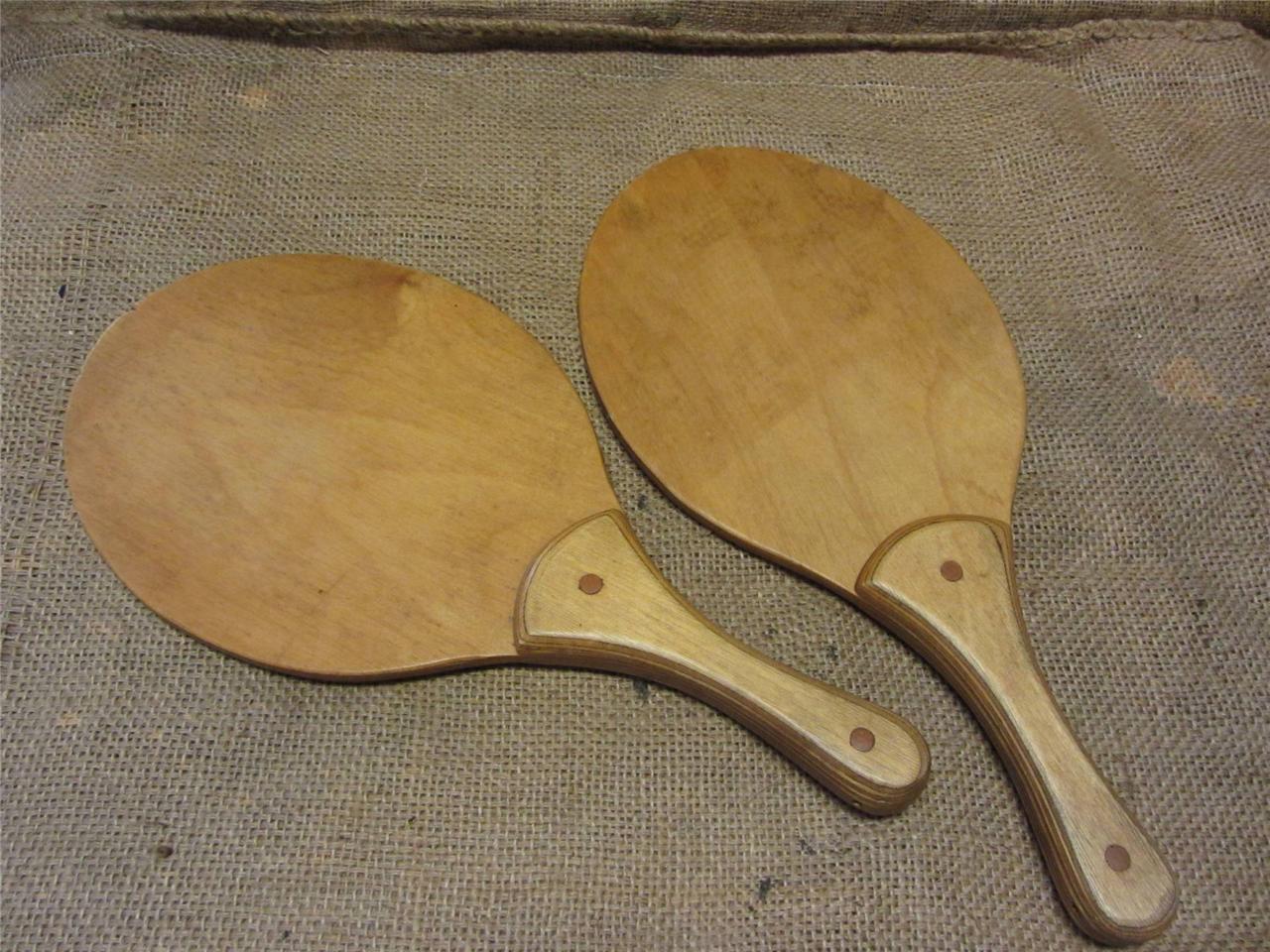 Vintage Wooden Paddle Set of 2   Antique Old Game Wood Paddles 8412