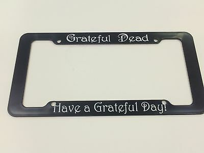 "GRATEFUL DEAD ""STEAL YOUR FACE LOGO HAVE A GRATEFUL DAY"" LICENSE PLATE BLACK"