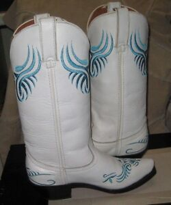 Road-Wolf-Western-White-Women-039-s-Leather-boot-6003-Size-6-NEW