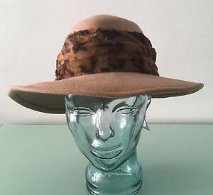 Vtg 70s LANCASTER Lonni San Francisco Beige Felt Wool Hat w Leopard ... a2f863efb