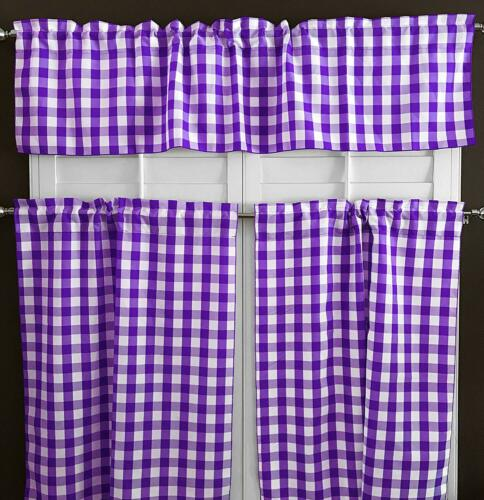 3 Piece Kitchen Curtain 1 Valance /& 2 Tier Gingham Checkered Design
