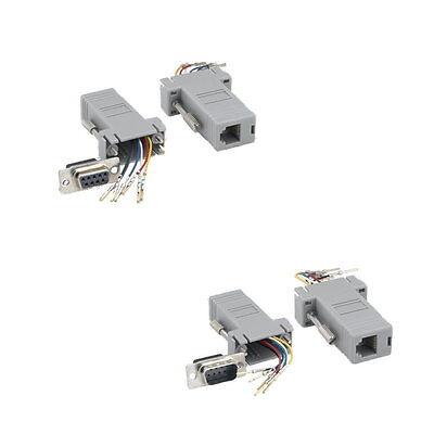 Monoprice DB9 Female to RJ-12 Modular Adaptor 6 Conductors Gray