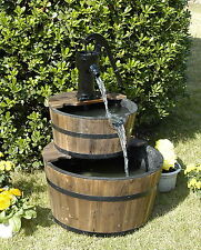 Wood Barrel with Pump Outdoor Water Fountain - Large Garden Water Fountain